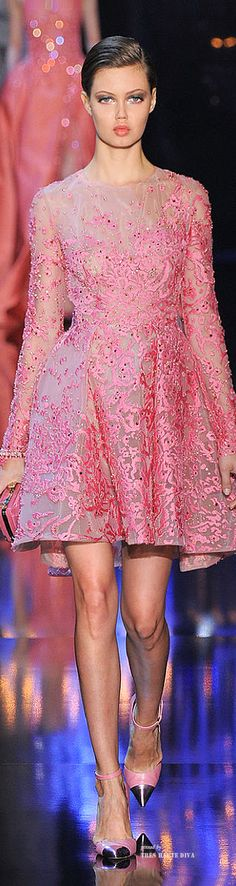 Elie Saab Haute Couture Fall 2014   Strawberry Ice Pantone Color 2015