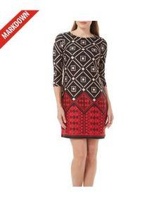 Gabby Skye Womens Geometric Print Sheath Dress
