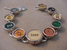 TYPEWRITER Key Jewelry Bracelet Cash Register Key by magiccloset, $42.00
