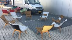 vintage easy lounge chairs in fiberglas , wood and fabric 1950 - SEATING - 04 VINTAGE - Davidowski
