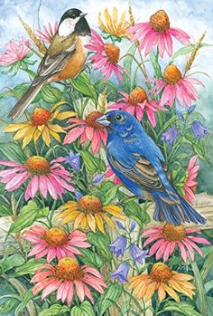 Toland Home Garden Chickadee and Indigo Bunting 28 x 40 Inch Decorative Colorful Spring Flower Bird House Flag Animal Drawings, Art Drawings, Blue Butterfly Wallpaper, Leaf Drawing, Flower Bird, Garden Flags, Garden Paths, House Flags, Vintage Birds
