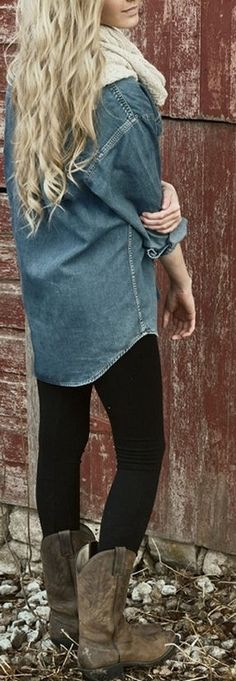 Chambray & Infinity Scarf <3