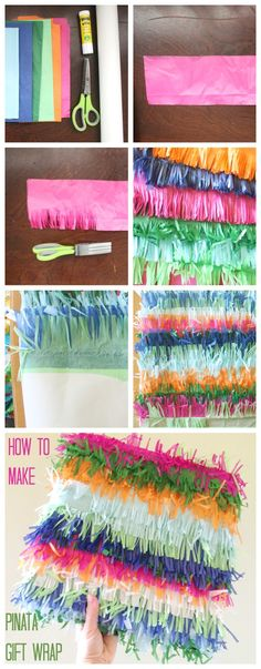 how to make piñata wrapping paper #giftwrap #wrapping #piñata #tissuepaper #gift #gifts #presents