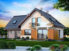 Projekt domu Galilea BIS 2M 134,15 m2 - koszt budowy - EXTRADOM Home Fashion, House Plans, Shed, Outdoor Structures, Cabin, Mansions, House Styles, Home Decor, Balcony