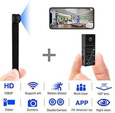 Mini Spy Camera WiFi Hidden Video Camera Wireless Covert Security Cameras Wide Angle Nanny Cam with DIY Interchangeable Lens/Night Vision/Motion Activated for Home Surveillance(New Version) Small Hidden Cameras, App Video, Hidden Video Camera, Mini Spy Camera, Pc Android, Nanny Cam, Wireless Ip Camera, Wifi, Home Surveillance