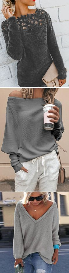 Women Fashion Long Sleeve Kintted Autumn Winter Sweater - The Fashion United Fall Outfits, Casual Outfits, Fashion Outfits, Womens Fashion, Vetements Shoes, Winter Sweaters, Women's Sweaters, Neue Outfits, Looks Chic