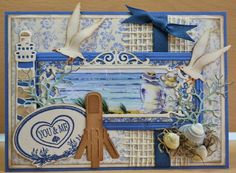 Card made by DT member Astrid with Creatables Petra's Rectangle (LR0318), Light House (LR0231) and Craftables Tiny's Ocean Set (CR1279) by Marianne Design