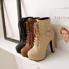 MA PU Leather Women Thick High Heel Short Boots (Black, Beige & Brown) Choose On… MA PU Leather Women Botas curtas de salto alto grosso (preto, bege e marrom) Escolha um tamanho acima – Afreeman Leather High Heel Boots, Lace Up Ankle Boots, Pu Leather, Brown High Heel Boots, Thick Heel Boots, Black Leather, Ankle Booties, Black High Heels, Black Boots