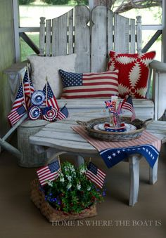 Patriotic Decor on the porch