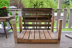 Pallet wood patio chair build - part 2 - Funky Junk InteriorsFunky Junk Interiors Patio Furniture Makeover, Pallet Patio Furniture, Diy Furniture Projects, Diy Pallet Projects, Pallet Chair, Pallet Ideas, Pallet Crafts, Fun Projects, Project Ideas