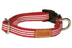 """Sized for little dogs, this sturdy 1/2"""" cotton webbing collar in red and white (also available in navy and white) snaps closed with a lightweight durable plastic fastener and adorned with leather GEORGE logo patch. Complete the set with matching lightweight lead, measuring 1/2"""" wide x 4' long."""