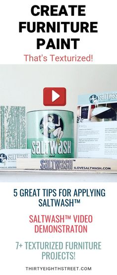 Learn how to create textured paint for painting furniture. Click here for a Video Demonstration! PLUS see 7+ painted furniture makeovers with this furniture paint finish! Learn how to use Saltwash™ and see several salt wash projects with this unique texturized paint finish! Textured Painting Technique. Painting Furniture. Painted Furniture Ideas. Saltwash ideas.  #saltwash #saltpaint #paintingfurniture #paintedfurnitureideas #furnituremakeover #furniturepaint #paintingtechnique…