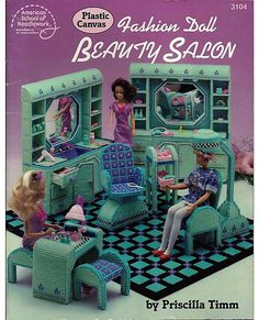 Fashion Doll Beauty Salon in Plastic Canvas for Barbie American School of Needlework 3104.