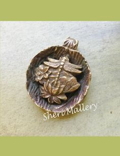 by Sheri Mallery,   Bronze clay dragonfly pendant