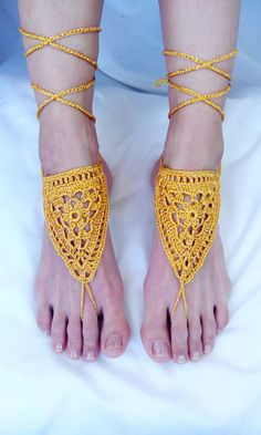 Weddding Barefoot Sandals Footless Pair Clothes Anklet by EliSmile