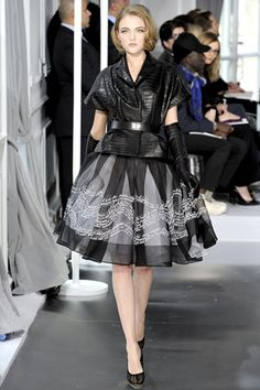 The long gloves, the sheer skirt, the textured jacket...all pure love! Dior couture, spring 2012.
