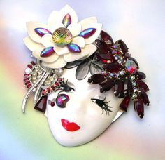 Upcycled Face Mask Masquerade Brooch face mask by LizonesJewelry, $43.50