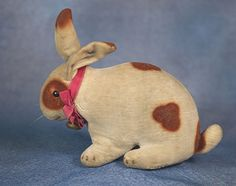 Antique Very Early Velvet Rabbit with BLANK Button and RATTLE
