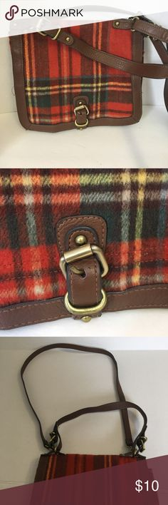 "Merona Plaid Purse-with both short and long straps Gently loved - I called this my autumn purse. Nice plaid print made out of ""fuzzy"" material. Brown trim with gold accents. In very good condition. Merona Bags Satchels"