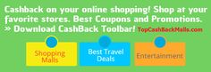 See How Much You Are Missing Out Every Time You, Your Family And Friends Shop Online! Access the special V.I.P offers / stores with discounts and Cash back: www.topcashbackmalls.com