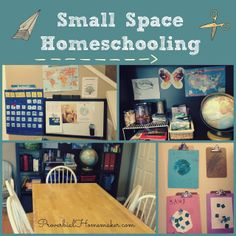 Small Space Homeschooling - How we (mostly) organize our homeschool with limited space. From http://www.ProverbialHomemaker.com
