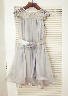 Silver Gray Lace Chiffon Knee Length Flower Girl Dress