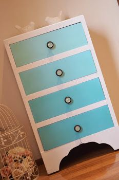 Tutorial on how to paint an ombre turquoise and white tall boy chest.  Vintage retro shabby style furniture.