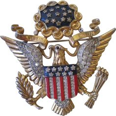 Vintage Trifari Large Red White & Blue Eagle Pin,  Patriotic 4th of July Brooch,  Flag Brooch