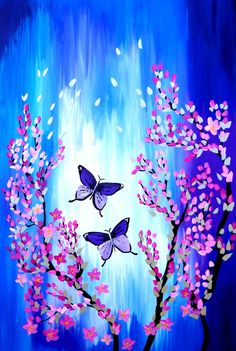 blue pink and purple paintings with butterflies Cherry blossoms on canvas