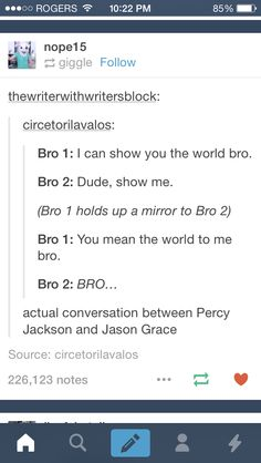 My first thoughts were 'omg Percy and Jason!' Then at the bottom I saw the little 'actual convo between Percy and Jason' and I was like 'YASSS'. Percy Jackson Memes, Percy Jackson Books, Percy Jackson Fandom, Solangelo, Percabeth, Team Leo, Tio Rick, Jason Grace, Rick Riordan Books