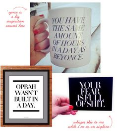 """""""You have the same amount of hours in a day as beyonce"""" mug and """"oprah wasn't built in a day"""" print - our favs from sweaty wisdom"""