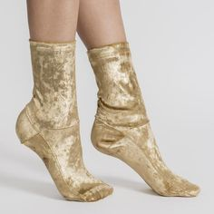 Darner Gold Crushed Velvet Socks Metallic and dress socks that are a great way to pair with hosiery and shoes Also a great gift and fun for every closet Designed and Made in Los Angeles Lace Socks, Gold Socks, Heels With Socks, Sexy Socks, Ankle Socks, High Socks, Tie Dye Socks, Velvet Socks, Fashion Socks
