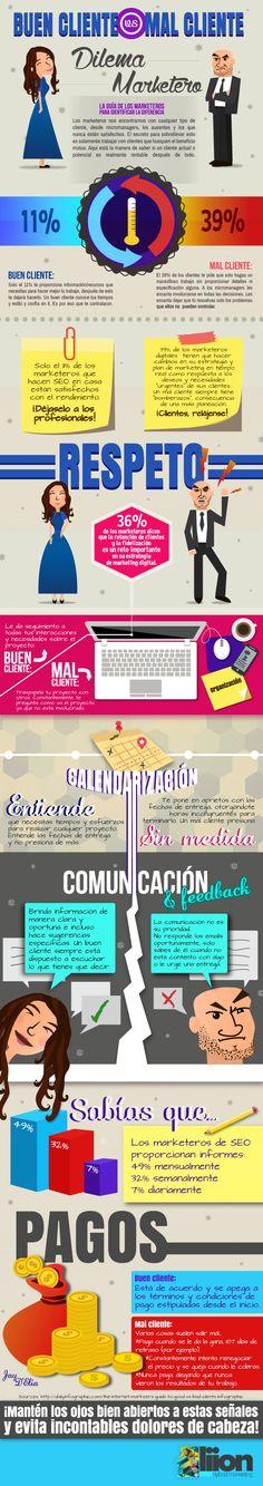 Dilema marketero: Buen cliente vs mal cliente #infografia #infographic #marketing