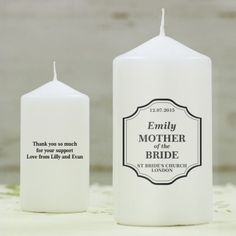 Personalised Classic Wedding Candle - Mother of