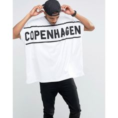 ASOS Extreme Oversized T-Shirt With Copenhagen Print In Heavy Jersey (€23) ❤ liked on Polyvore featuring men's fashion, men's clothing, men's shirts, men's t-shirts, white, mens leopard print t shirt, mens white shirts, asos mens shirts, mens white t shirts and mens patterned t shirts