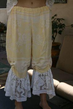 Vintage romantic victorian damask linen and filet lace bloomer pantaloons M L. $88.00, via Etsy.