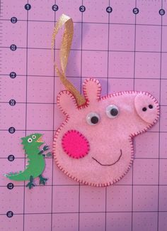 peppa pig inspired christmas tree ornament handmade