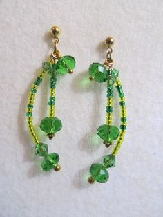 """E174 Spring Blitz - Swarovski crystals, TOHO seed beads, 14k gold plated findings and post. 21/2"""" length"""