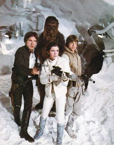 Harrison Ford as Han Solo, Peter Mayhew as Chewbacca, Carrie Fisher as Princess Leia and Mark Hamill as Luke Skywalker from Star Wars The Empire Strikes Back Star Trek, Star Wars Cast, Carrie Fisher, Star Wars Characters, Star Wars Episodes, Star Wars Brasil, Le Retour Du Jedi, Starwars, Series Dc