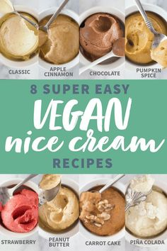 Frozen bananas pulsed in the food processor turn in to dreamy, creamy, vegan ice cream! Check out these 8 vegan banana soft serve recipes! Frozen bananas pulsed in the food processor turn in to dreamy, creamy, vegan ice cream! Vegan Dessert Recipes, Vegan Sweets, Healthy Sweets, Whole Food Recipes, Soft Food Recipes, Healthy Food, Cool Recipes, Baking Desserts, Cake Baking