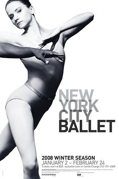 Paula Scher, New York City Ballet poster. The font is a clear relative to the image on the left. Black and white image that shows shadows and how the body is overlapping...these are the relations within the font. the font shows overlapping and light to dark components.