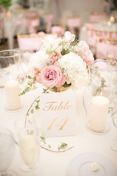 Elegant wedding centerpiece | white, pink and gold