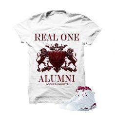 Real One Alumni (Merlot) White T-Shirt. 100% Cotton High Quality  Description T-Shirt By SACRED SOCIETE