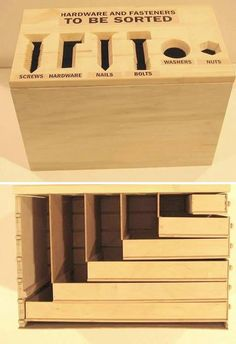 Genius way to sort nuts and bolts, etc. #woodwork #wood #wooden #organization