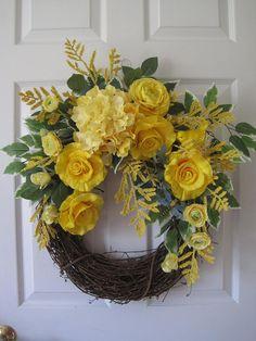 Yellow Rose Wreath Mothers Day Wreath Front Door Wreath