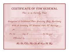 Wedding Vow Renewal Certificate Printable Here Another Similar throughout Blank Marriage Certificate Template - Professional Templates Ideas Vow Renewal Ceremony, Wedding Renewal Vows, 40th Wedding Anniversary, Anniversary Ideas, Wedding Minister, Gift Certificate Template, Funny Certificates, Marriage Certificate, Marriage Vows