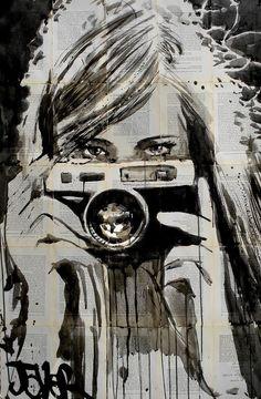 "Saatchi Art Artist: Loui Jover; Pen and Ink 2013 Drawing ""shutterbug"" saatchiart.com"