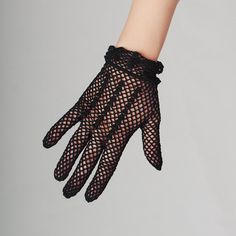 50s Black Fishnet Gloves / Hand Crocheted Mesh Gloves / Elegant Lady Black Gloves