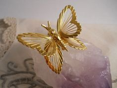 Vintage Monet Gold Toned Butterfly with Wings by MissPattisAttic, $15.00