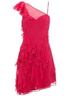Red Cocktail Dress - Bqueen Soft Frill Dress Fuchsia  $99